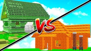 CREEPER HOUSE vs LAVA HOUSE IN MINECRAFT!