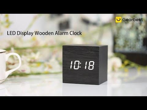 LED Display Wooden Alarm Clock - Gearbest.com