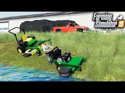 FS19- STARTING A MOWING BUSINESS! MOWING OUR FIRST PROPERTY WITH JD WALK-BEHIND thumbnail