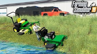 FS19- STARTING A MOWING BUSINESS! MOWING OUR FIRST PROPERTY WITH JD WALK-BEHIND
