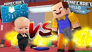 Minecraft BOSS BABY VS HELLO NEIGHBOR - TINY TURTLE & SCUBA STEVE BECOME THE BOSS BABY