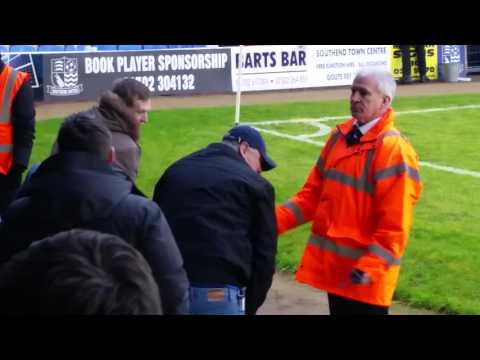 Crowd trouble and violence. Local Essex derby. Southend vs Colchester 06/02/16