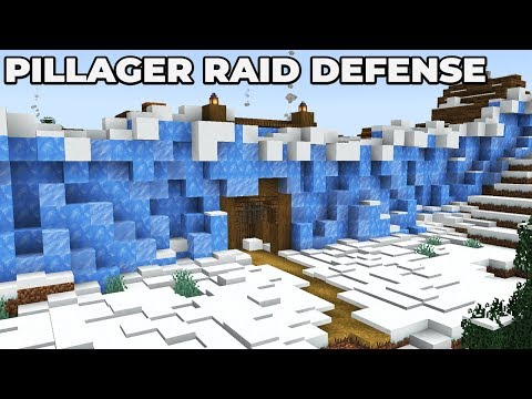 How To Defend Against A Pillager Raid : SNOWY TAIGA VILLAGE WALL : MINECRAFT 1.14