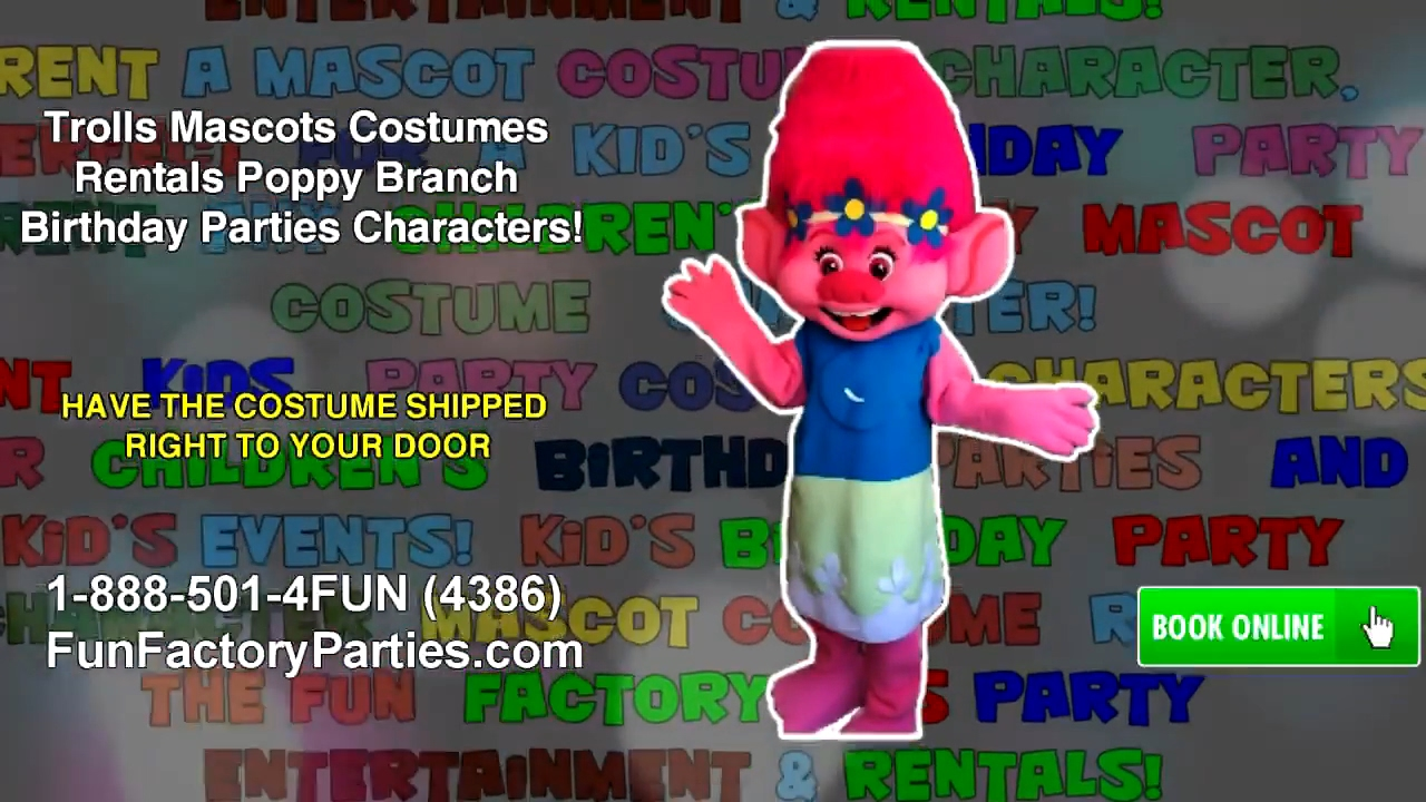 RENT Troll Poppy Branch Adult Mascot Costume Character Halloween Party Birthdays