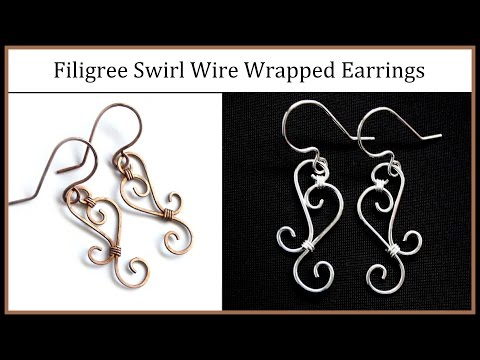 Easy Jewelry Tutorial : Simple Wire Wrapped Filigree Swirl Earrings