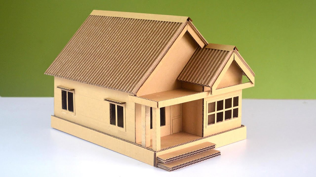 DIY ! How to Make a Beautiful Cardboard House Very Easily ( measurements given)