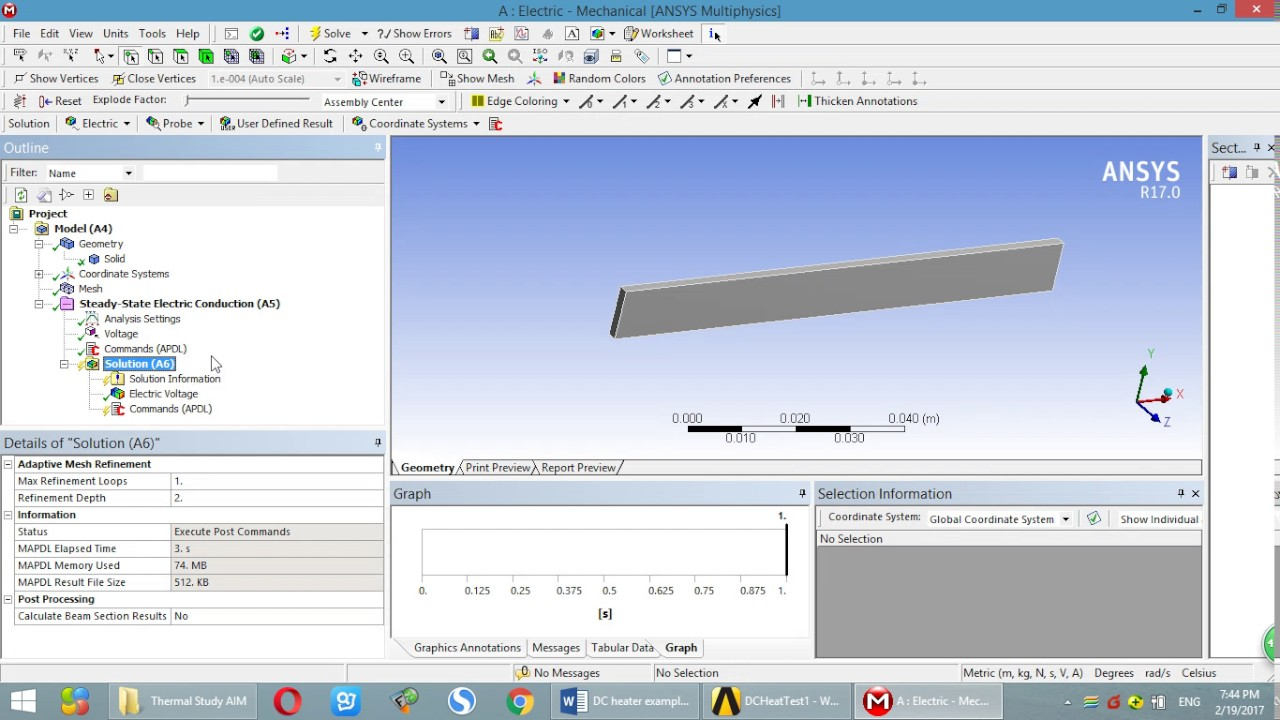 ANSYS DC electric analysis. Calculate Resistance,Power, and export ...