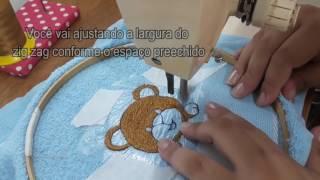 Como bordar na parte felpuda da toalha/Bordado em maquina doméstica