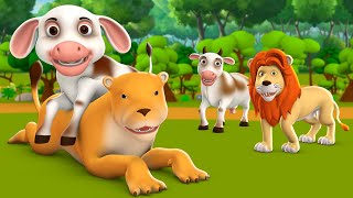 The Cow and Baby Lion 3D Animated Hindi Moral Stories for Kids गाय और शेर के बच्चे कहानी Hindi Tales