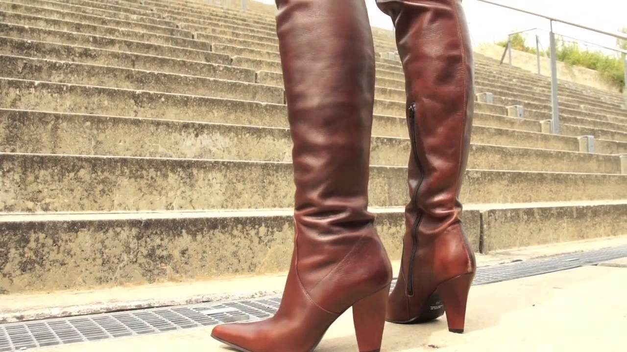 Brown Thigh High Boots - YouTube