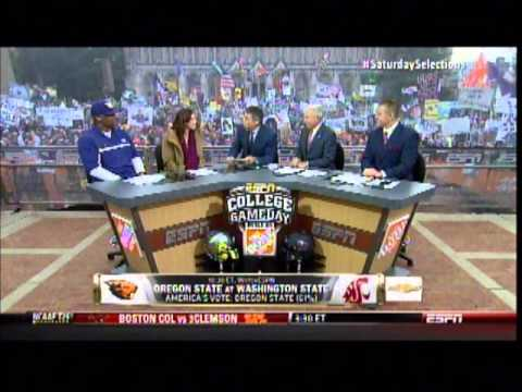 Warren Moon and Hope Solo on College gameday 10/12/13