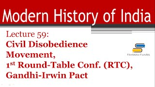lec 59 civil disobedience movement 1st rtc gandhi irwin pact delhi pact with ff   modern history