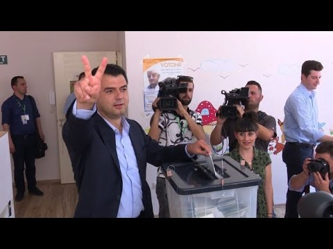 Albanian opposition leader Basha casts his vote