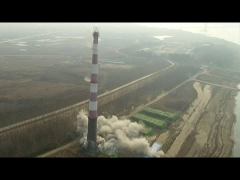 Chinese demolition team bring tower crashing to earth in seconds