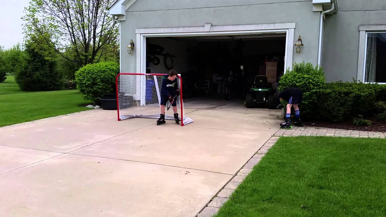 roller hockey in the driveway youtube