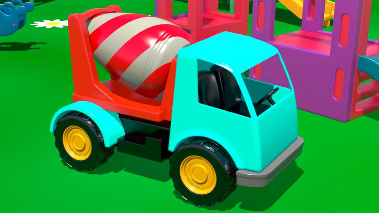 Cartoni animati per bambini costruire una betoniera e