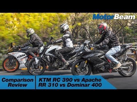 KTM RC 390 vs Apache RR 310 vs Dominar 400 - Comparison Review | MotorBeam