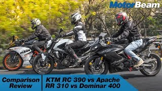 KTM RC 390 vs Apache RR 310 vs Dominar 400 - Comparison Review | MotorBeam