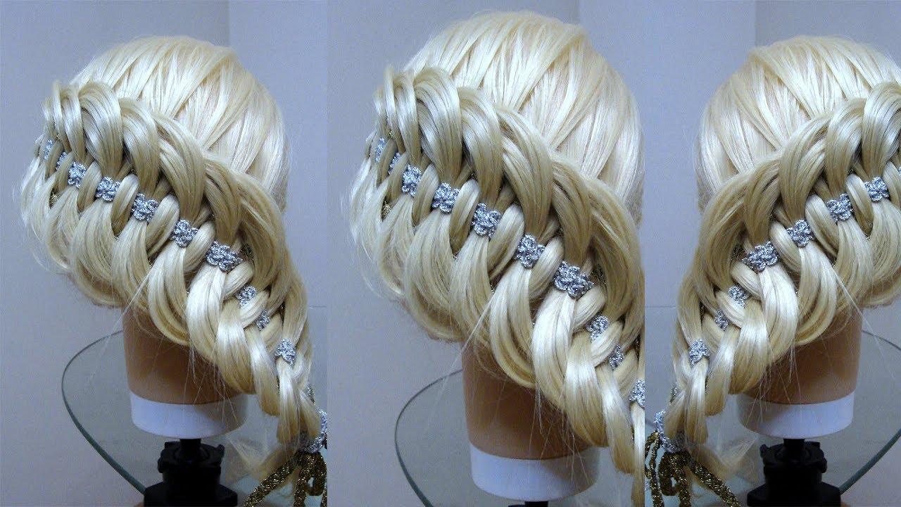 ⛄❄ Новогодняя причёска  Коса с лентами Курс плетения кос. Hair tutorial. Braid