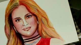 Watercolor Portarit of Selena Gomez By Mahima Kejriwal