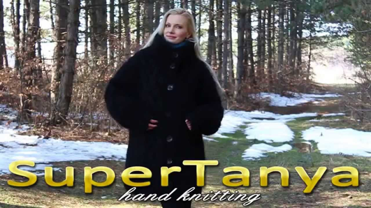 04.03.2013 Black hand knitted fuzzy mohair cardigan coat with cable decorations by SuperTanya