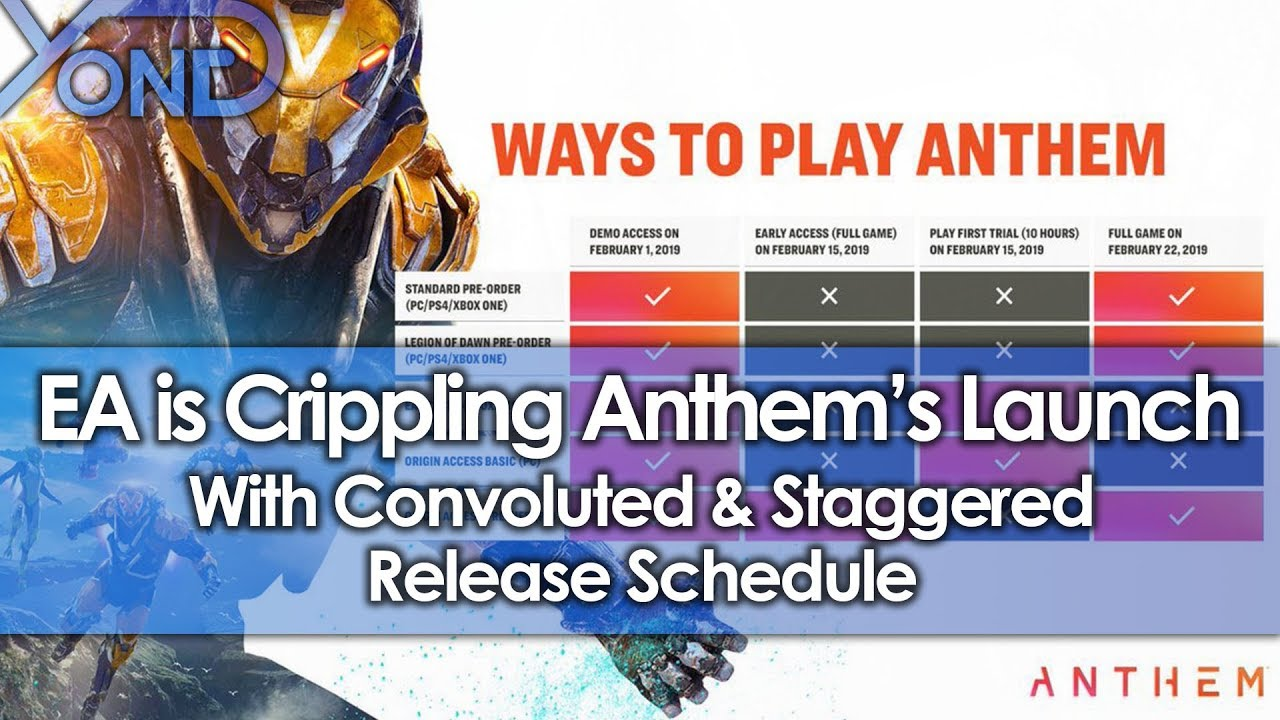EA is Crippling Anthem's Launch with Convoluted & Staggered Release Schedule