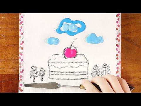 CAKE Landscape 케잌 풍경ㅣEasy & Simple Acrylic PaintingㅣAbstractㅣSatisfyingㅣRelaxingㅣ아크릴화ㅣ그림그리기