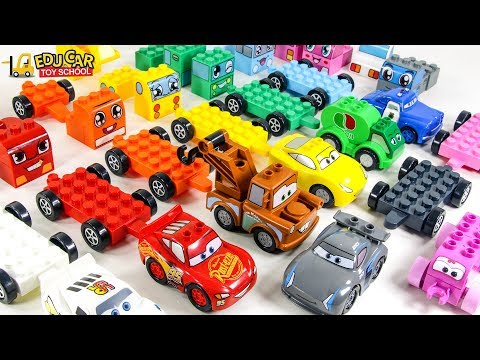 Learning Color Disney Cars Lightning McQueen Mack Truck Lego Play for kids car toys