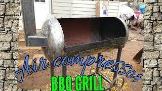Air compressor turned bbq pit part1/2