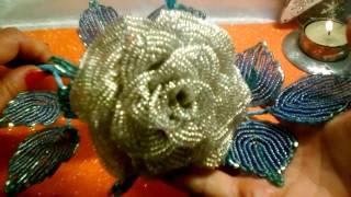 Как сделать ледяную розу из бисера.подробный М.К.