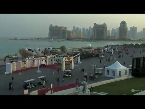 Beach view of Katara Cultural Village in Doha, Qatar