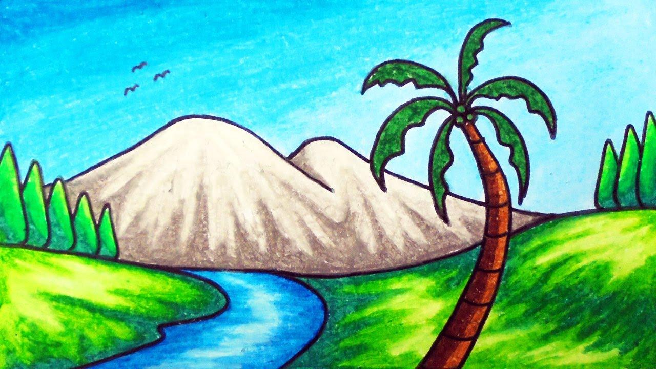 Cara Menggambar Pemandangan Alam yang Mudah | Gambar ...