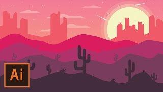 Illustrator Tutorial - Desert Landscape Flat Design (Illustrator Flat Design Tutorial)