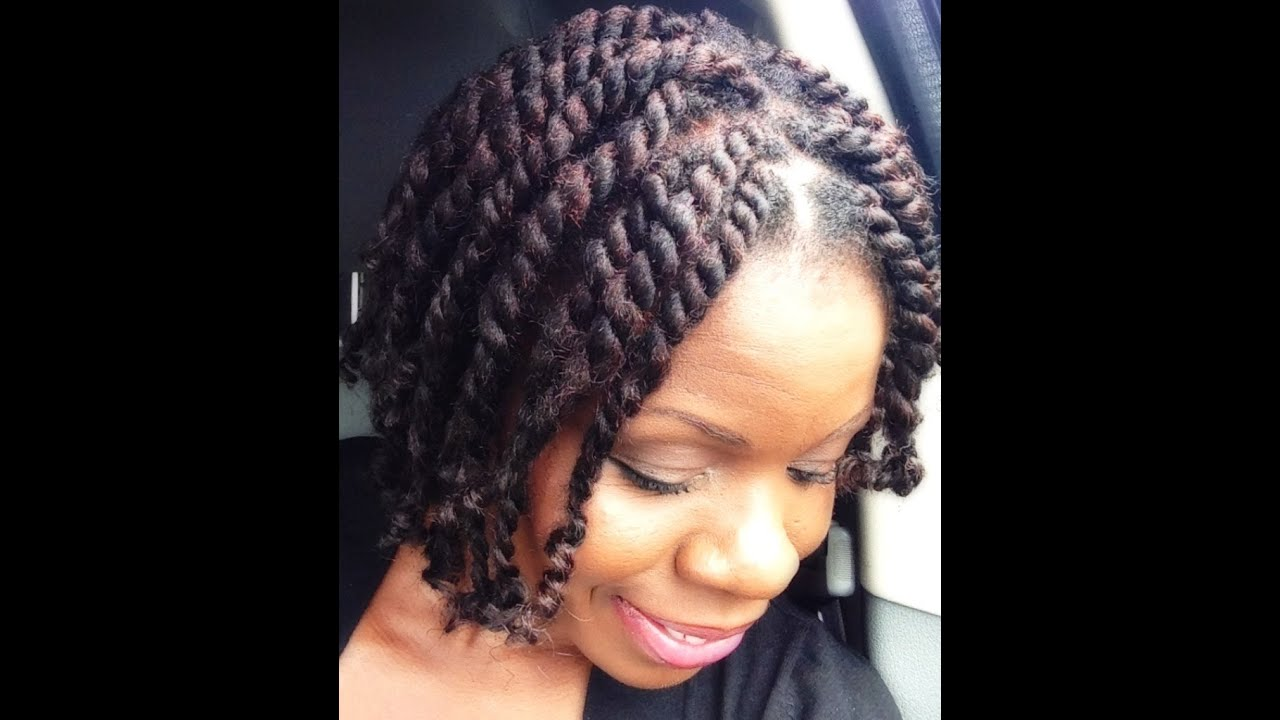 Natural Hair Short Chunky Twists With Marley Hair Twisted From The