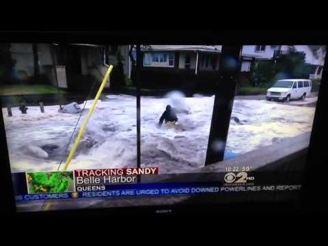 Belle Harbor flooded Reporter knocked over Hurricane Sandy October 2012