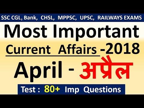 Current affairs : April 2018   Important current affairs 2018    latest current affairs Quiz