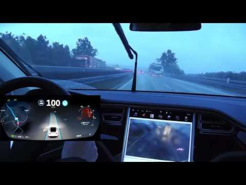 "Tesla ""Autopilot"" 8.0: Autobahn nach Ulm (mit Fahrerdisplay)"