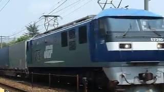 [警笛あり]JR貨物 EF210形3号機 1055レ貨物列車26両編成 東岡山駅付近通過