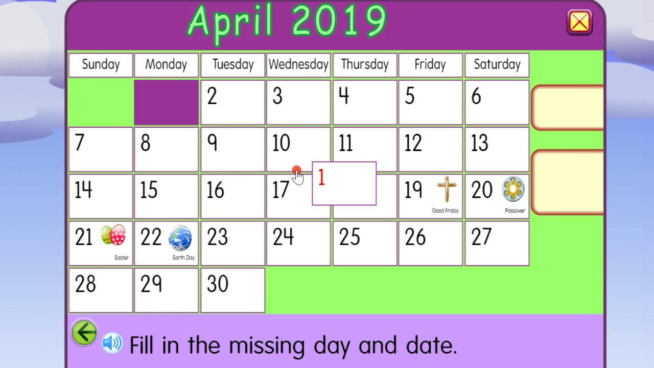 Starfall Calendar April 2019 Calendar For Kids