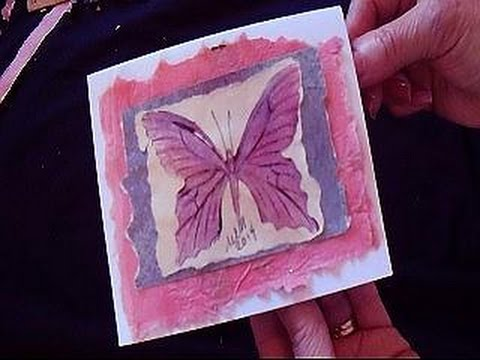 Diy Butterfly Greeting Card With Fake Mulberry Paper Youtube