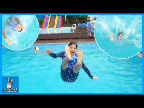 수영장 물 속으로 날아가다! 시원하게 다이빙
