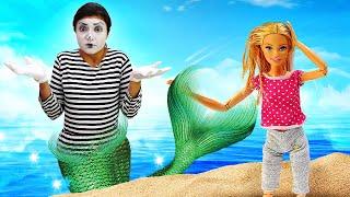 Видео для девочек про игрушки - Куклы Барби русалка! Игры в куклы - русалочки и принцессы