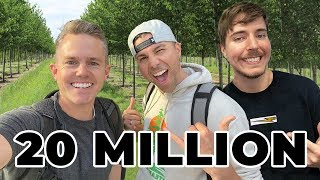 Planting 20 MILLION TREES With MrBeast and Mark Rober! | Ellie And Jared #TeamTrees