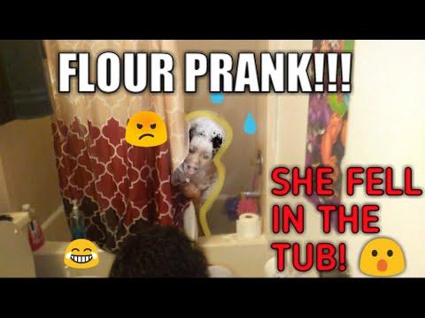 FLOUR SHOWER PRANK ON SISTER !!! (SHE FELL IN THE TUB!)