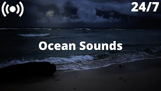 Ocean Waves on Sand | Stormy Beach at Night | Relaxing Sounds for Sleeping, Insomnia, Stress, Study