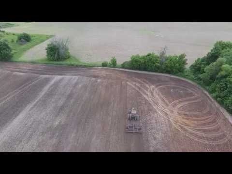 Old Fashioned Plowing and Cultimulcher - DJI Phantom 4 Drone