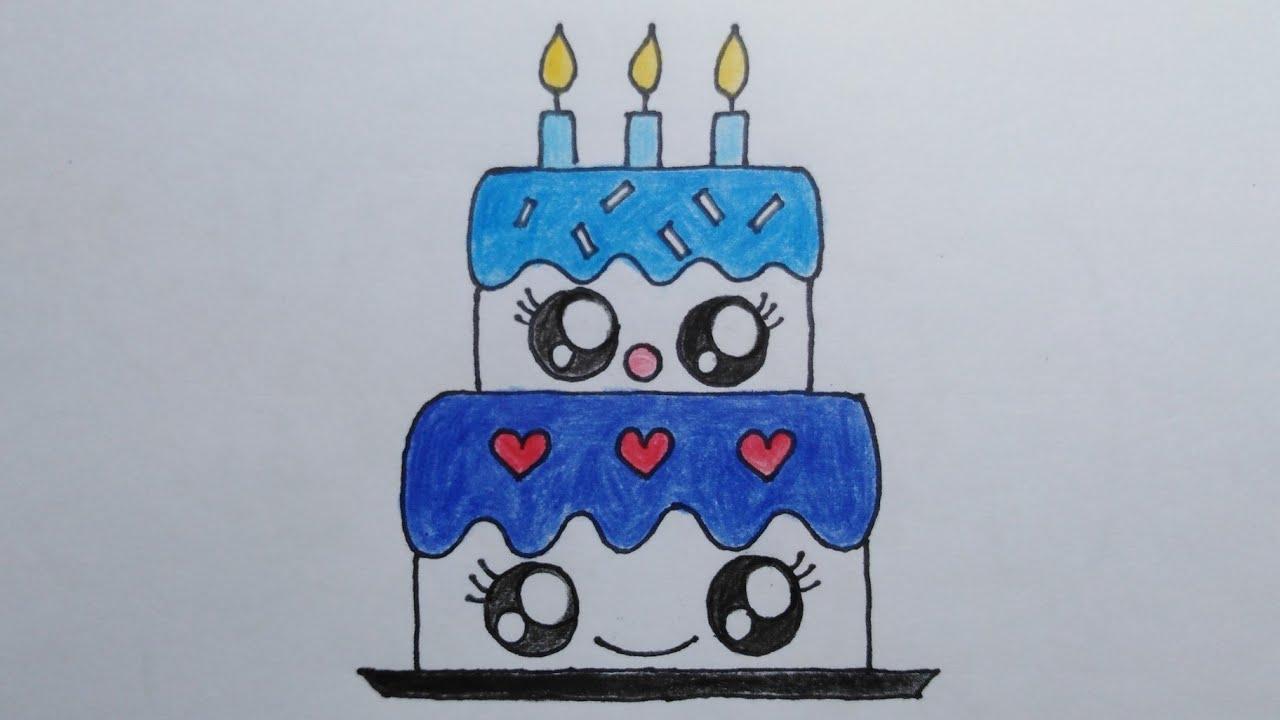 สอนวาดรูปเค้กวันเกิด|Drawing a Birthday Cake|DailyArt#029|MySkyChannel|(HBD💙น้องฟ้า)