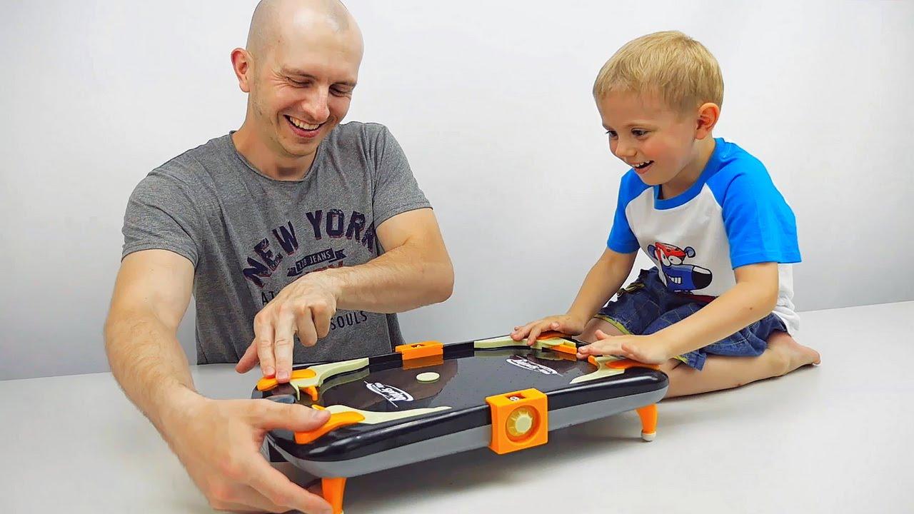 Детская игра ВОЗДУШНЫЙ ФУТБОЛ и Даник с папой / AIR SOCCER GLOW MAX