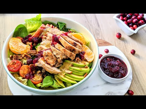 apple-walnut-salad-with-grilled-chicken-and-cranberry-jam-|thanksgiving-and-holidays-recipe-2019