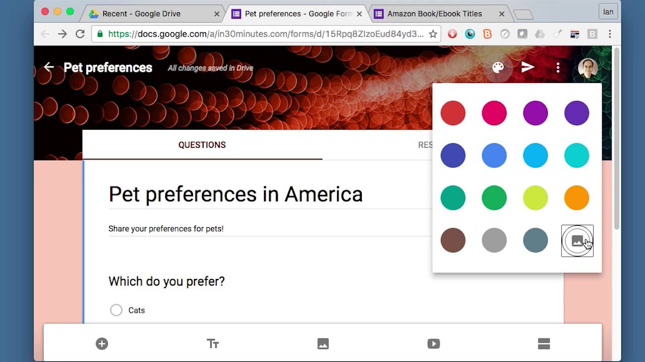 Change Google Forms design - YouTube